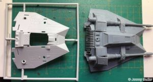 Revell 1:52 speeder on left, Legion on right